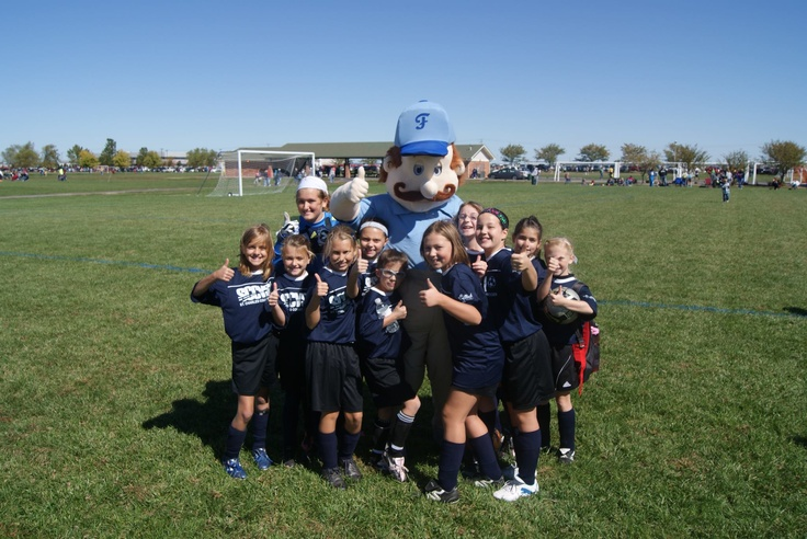 Floyd and the future girl's national soccer team #soccer #kids #children #youth #events #promotions #marketing #fun #mascot