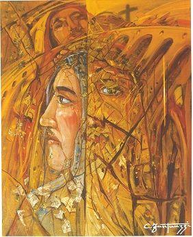 Carlo Fantauzzi ‒ «Ακούγοντας με τα χέρια», «Resurrezione» (Ανάσταση), μικτή τεχνική, 40Χ50 εκ.  Πηγή: Elio Mercuri, Carlo Fantauzzi, Monti Tipografia, 2000, σελ. 49.