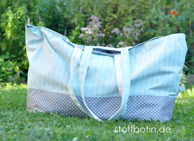 XXL Basic-Strandtasche nähen kostenloses Schnittmuster - Nähanleitung als E-Book, Freebok, Tutorial, Tasche nähen stoffbotin.de Free Beach Bag Sewing Pattern  Appleseed Canvas @monalunaorganic