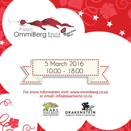 """#Ommiberg #PaarlWineRoute Taste the first wine of the season at the 9th Ommiberg """"Round the Rock' Harvest Celebration on the 5th of March. Ticket sales: http://bit.ly/1OzuLpL"""