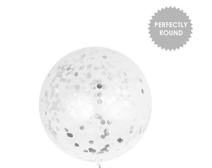 Giant Confetti Balloon - Silver | Birthday Decorations | Wedding Balloons | Prom Graduation Balloons | 36 inch balloon