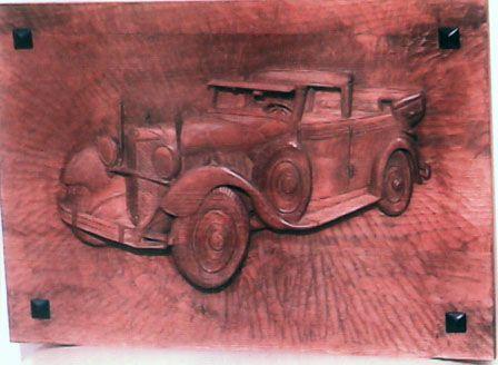 Retablo coche antiguo para una casa de seguros arte y - Seguros casas de madera ...