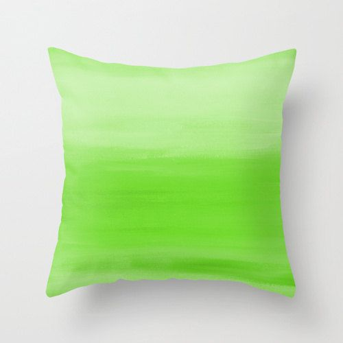 abstract lime green throw pillow cover ombre by