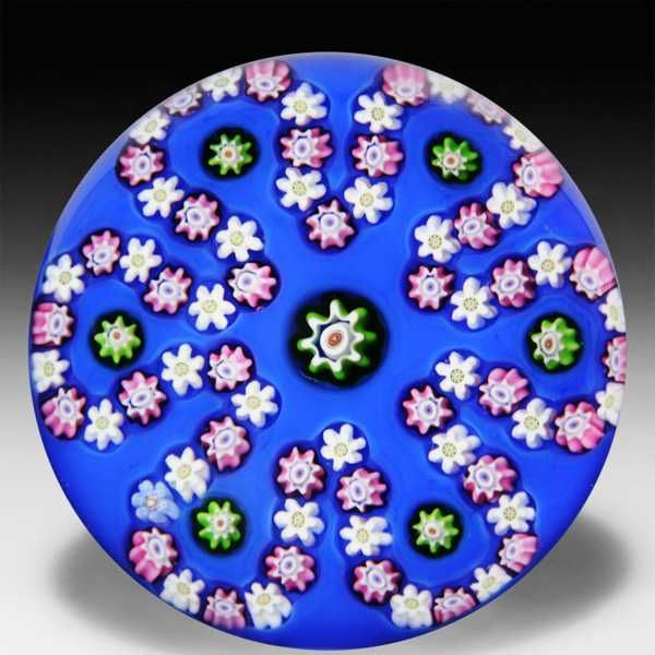 Parabelle Glass 1990 cog cane looped garland glass paperweight. by  Parabelle Glass
