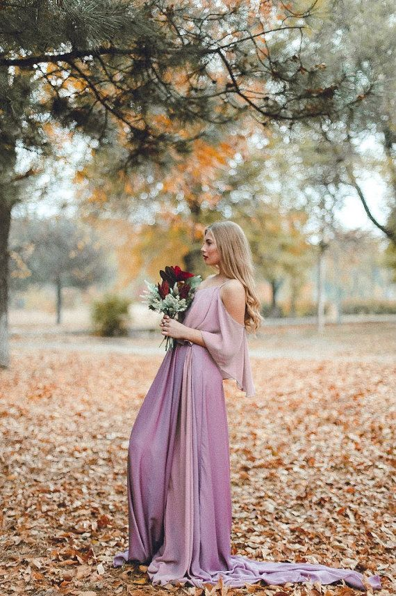 Non-traditional wedding dress \ Light violet pink gown \ liliac prom dress \ Dusty purple bridesmaid dress \ Coloured bridal gown \ Boho
