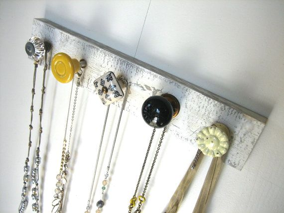 Jewelry+Storage+/+Knob+Rack+in+Yellow+and+by+AuntDedesBasement,+$32.00