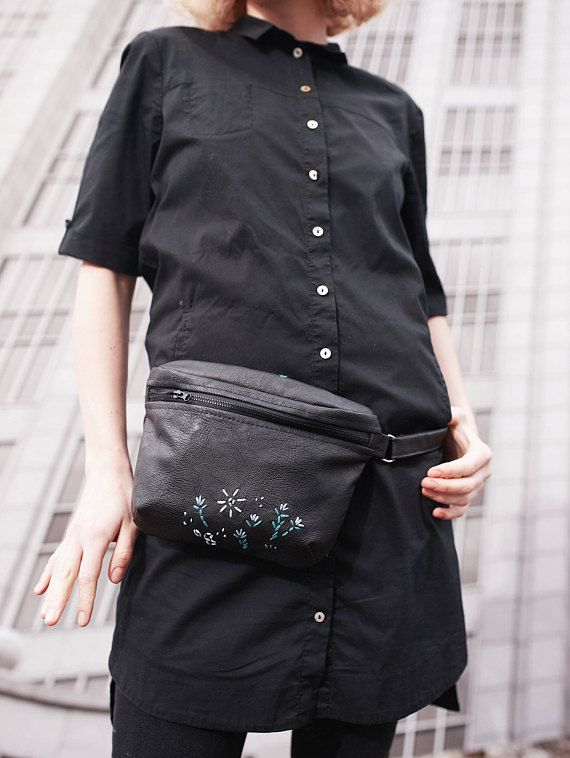Black waist-bag Hip bag ECO-leather Vegan leather Woman