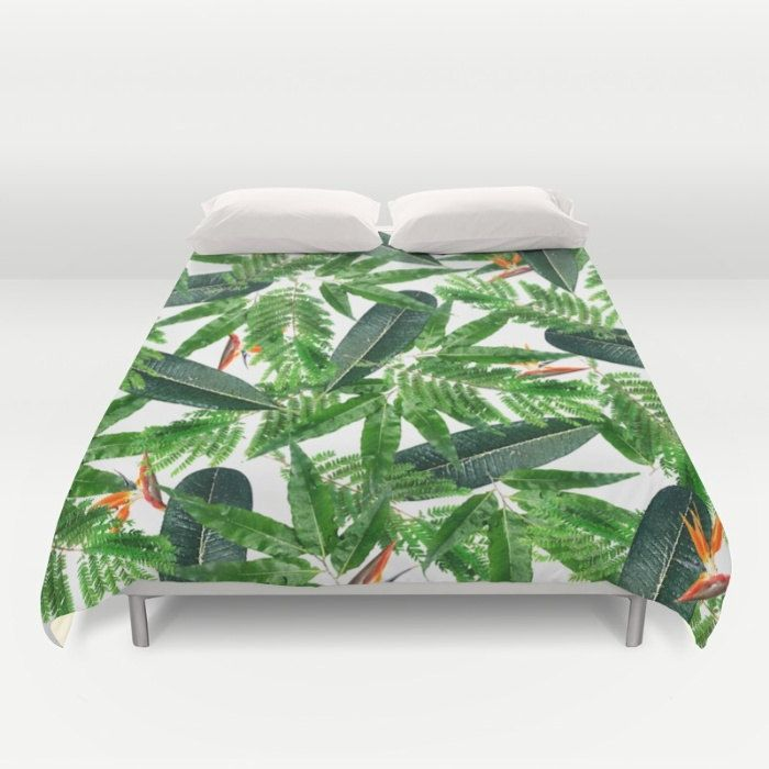 Tropical Duvet Cover, Full Queen King Duvet, Tropical Leaf Pattern, Green Bed Cover, Glam Bedding, Tropical Bird of Paradise Comforter Cover by OlaHolaHolaBaby on Etsy