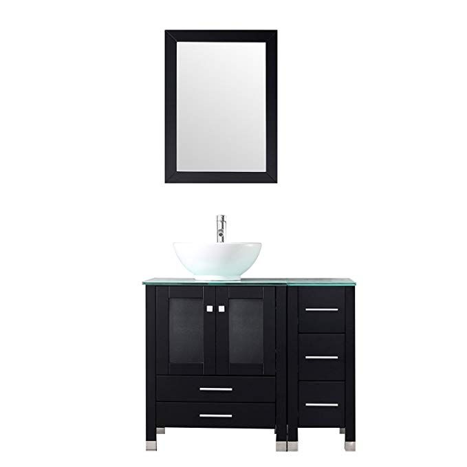 Bathjoy 36 Black Bathroom Wood Vanity Cabinet Ceramic Vessel Sink