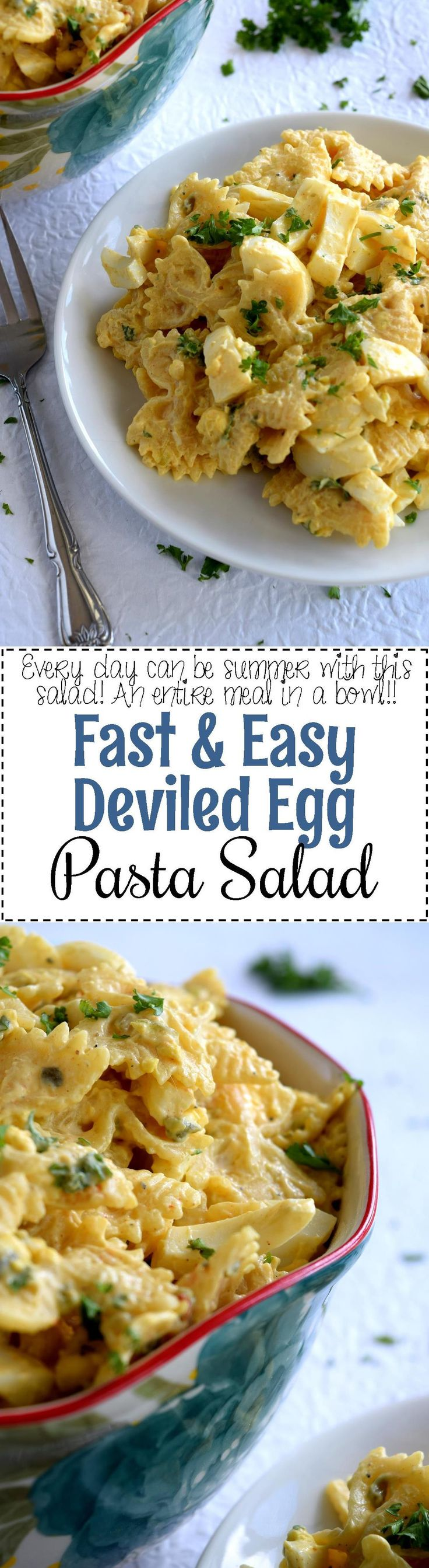 Fast and Easy Deviled Egg Pasta Salad - Fast & Easy Deviled Egg Pasta Salad is the perfect summer picnic or family get-together potluck recipe. It's inexpensive and feeds a crowd. And, no party is complete without deviled eggs!