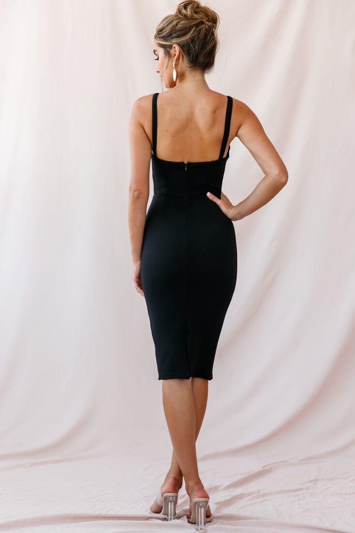 Georgia Square Neckline Midi Dress Black Black Dresses Classy Black Midi Dress Lbd Outfit Classy [ 1100 x 733 Pixel ]