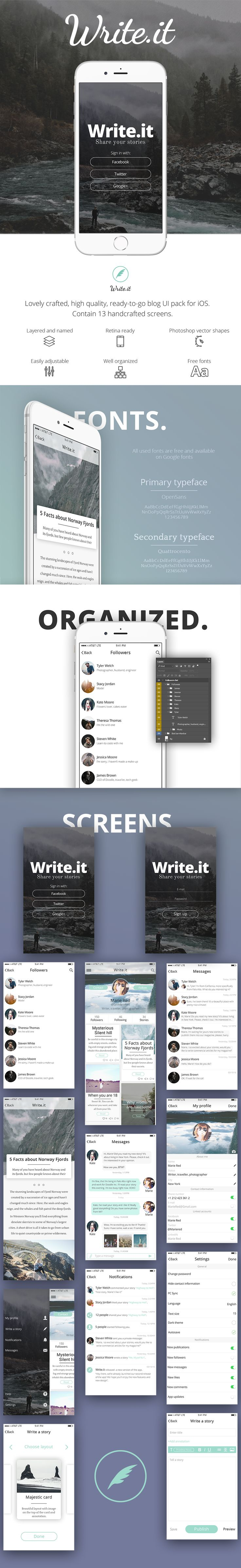 Write.it – free blog app Ui kit