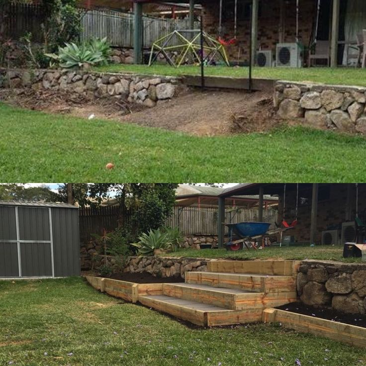 Sleeper steps- Backyard landscaping