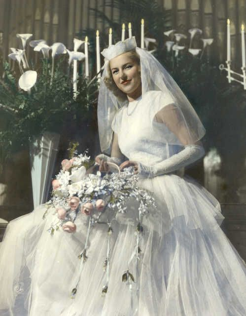 Marjorie in her wedding gown, 1946 Tacoma, Washington