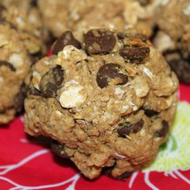 Protein cookies! You can sub peanut butter for almond butter and 1 Tablespoon of honey for stevia