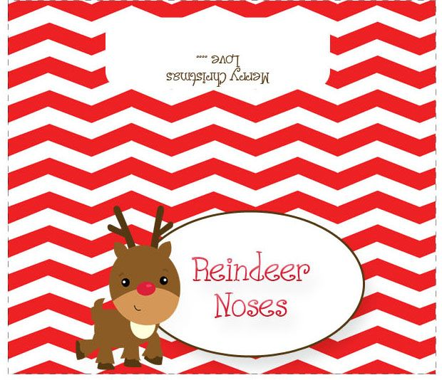 Reindeer Noses Treat Bag Toppers