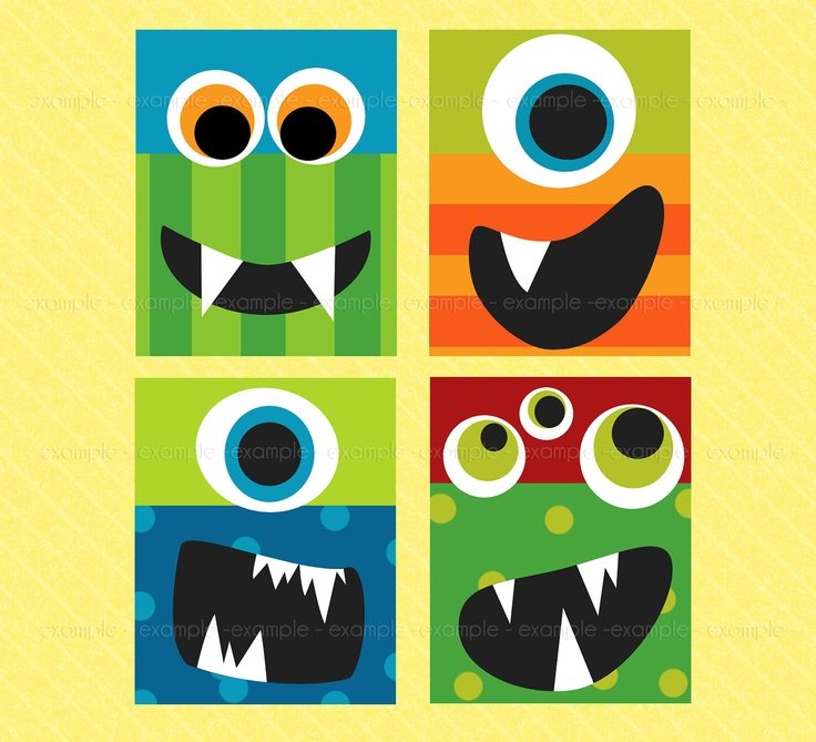 Monster Faces Wall Art- Digital Files - Jumping Beans Monster Bathroom Collection Coordinates. $15.00, via Etsy.