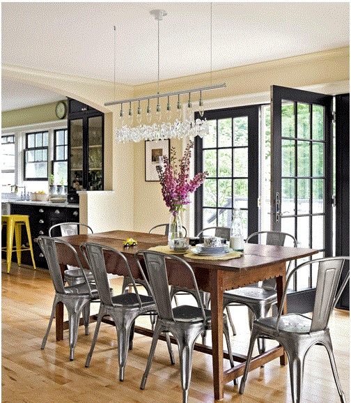 Rustic Dining Room With Modern Light