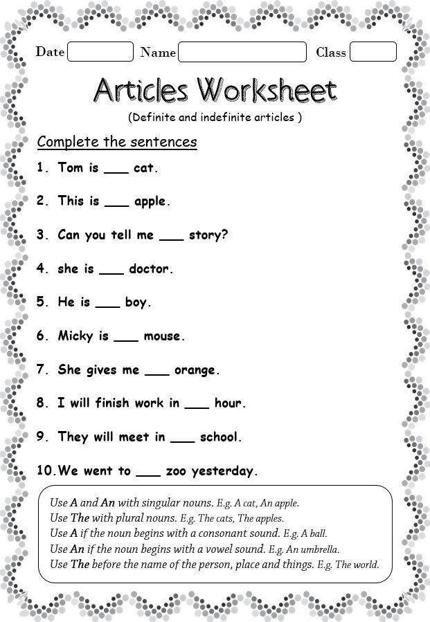 Articles Worksheet In 2020 Articles Worksheet Definite And Indefinite Articles English Grammar Worksheets