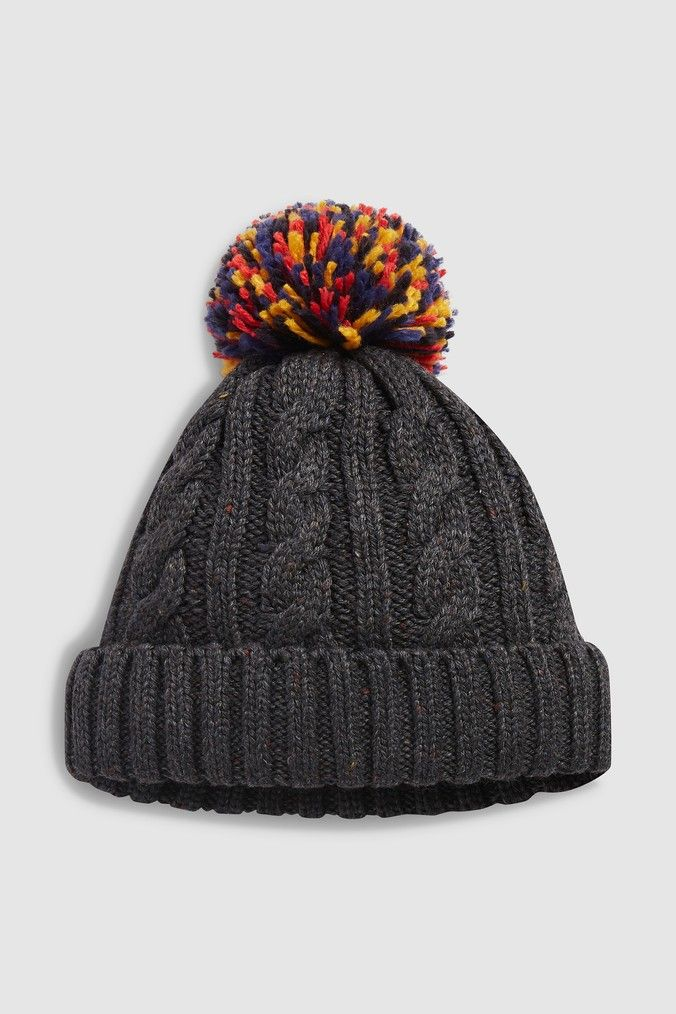 7767b728794 Mens Next Charcoal Cable Contrast Bobble Hat - Grey