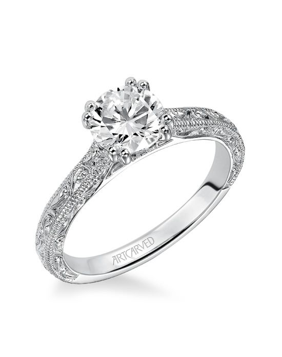Bernadette, Vintage Inspired Diamond Engagement Ring with engraving and milgrain detailed band. Available in Platinum, 18K and 14K gold.  Settings can be custom made to fit any size or shape center stone. Matching band available - Style number V432W-L.Price excludes center stone.