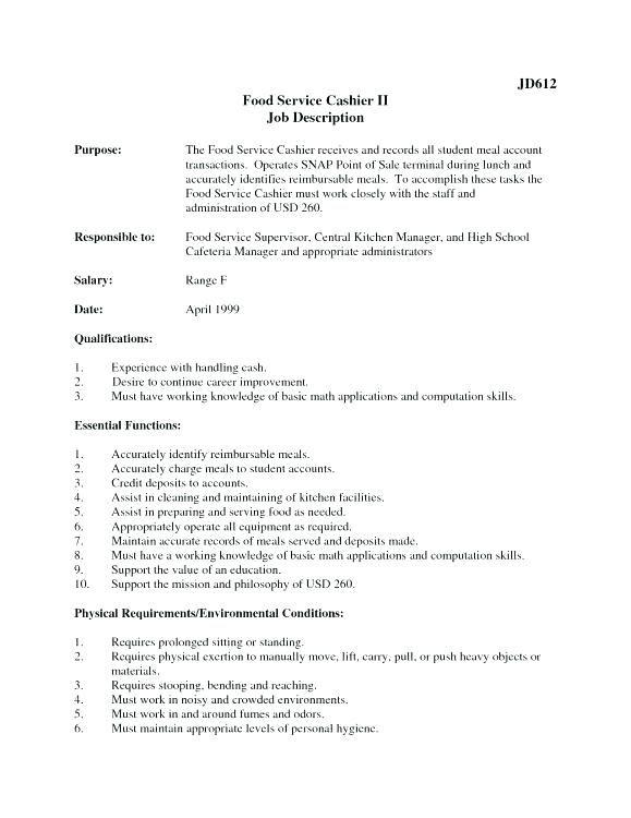 Cashier Responsibility Resume Fast Food Job Description For Resume List Of Skills Cashier Template Crew Member Responsibil Sample Resume Resume Resume Skills