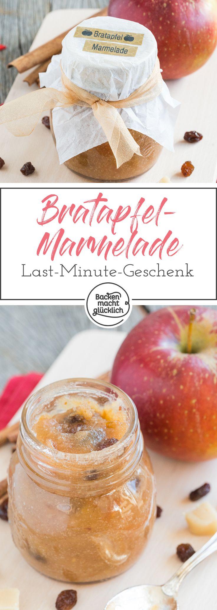 Diese leckere Bratapfelmarmelade ist ein tolles Last-Minute-Geschenk aus der Küche. Mit gebackenen Äpfeln, Zimt und Marzipan ist die Wintermarmelade einfach nur köstlich.
