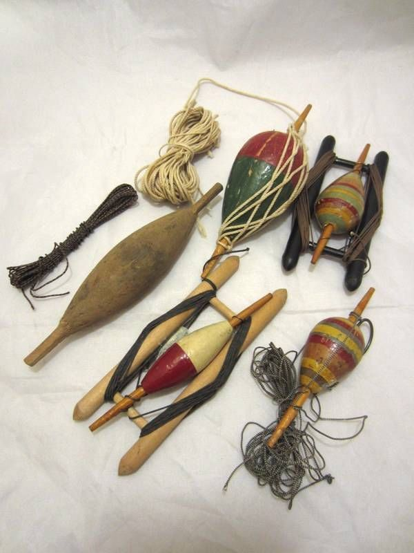 5 old antique vintage wood bobbers fishing floats with for Fly fishing bobber