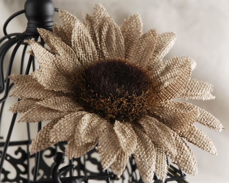 Burlap Sunflower Pick 9in