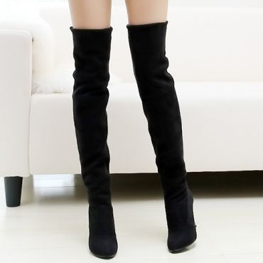 USD16.99Winter Fashion Round Toe Slip on Stiletto High Heel Black Suede Over the Knee Cavalier Boots