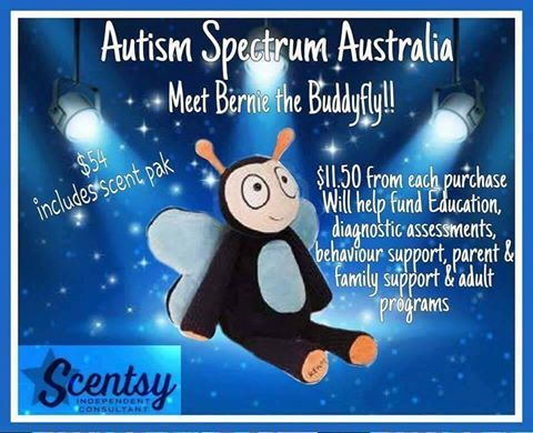 New Charity Buddie. Bertie. Supporting Autism Australia. buy online @ http://chrissyswickfreewarmers.scentsy.com.au Help support the families and educate others.