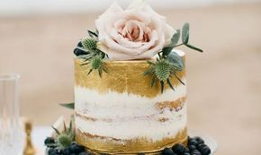 Semi naked single extended tier wedding cake