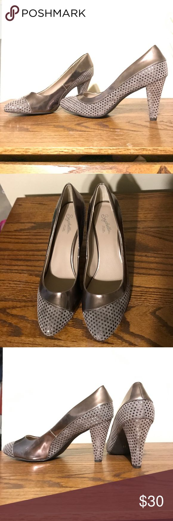 "Seychelles-NWOT polka dot heels-women's size 11 New without box! Seychelles ""Tell Me a Story"" Retro, throwback 1940s / 1950s style pumps Round toe pink metallic suede and pink metallic leather Polka dots Women's  Size 11. Please see photos and ask any questions you'd like! Seychelles Shoes Heels"