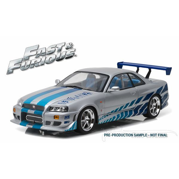 Brian's 1999 Nissan Skyline GT-R (R34) from 2 Fast 2 Furious in 1:18 Scale by Greenlight #19029 The Fast and Furious Diecast Model Collection.