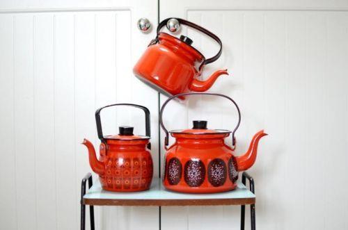 3-x-Vintage-Finel-Finland-Arabia-Teapots-retro-enamel-red-kettle
