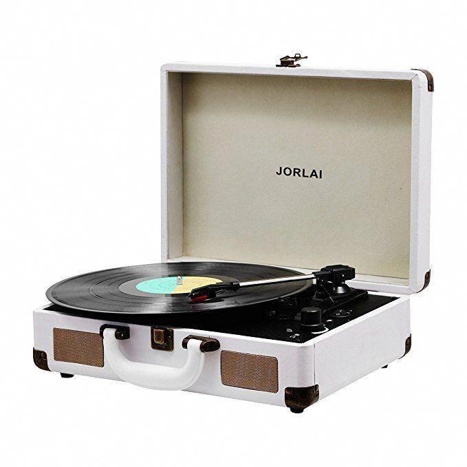 Amazon Com Vinyl Record Player Jorlai Turntable 3 Speed Bluetooth Record Player Suitcase Vinyl Record Player Turntable Record Player Bluetooth Record Player