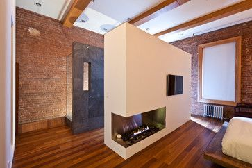 fireplace and TV wall partition...however TV needs a cabinet to hide it when not in use!!!!