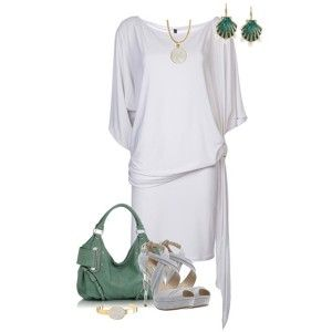 Серые босоножки, светло-серое платье, зеленая сумка, украшения