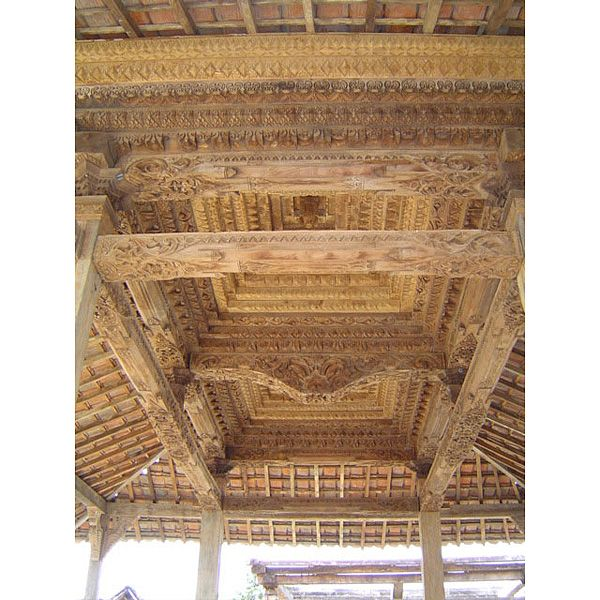 """""""Joglo"""" - carved teak wood - posts and beams - Javanese house - dated back to 18th century."""