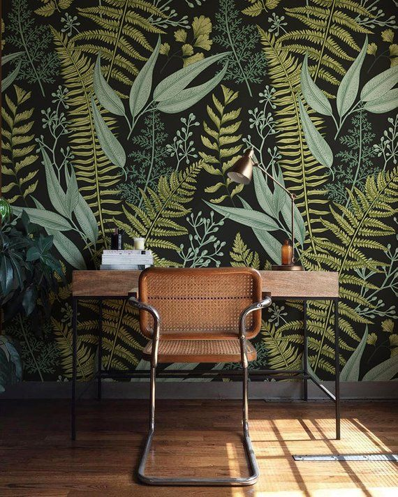 Immagini botaniche, felci Wallpaper, murale, Green Home Decor, decorazioni a base di erbe, Easy instal Decalcomanie da muro, rimovibile Wallpaper B008