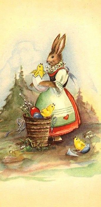Old Easter Post Card...Chicks and eggs in a wicker basket,with Mom Bunny.