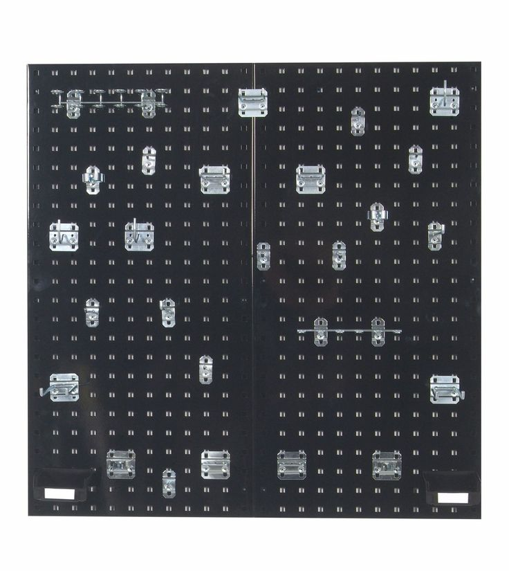 (2) 18 In. W x 36 In. H x 9/16 In. D  Black Steel Square Hole Pegboards with 30 pc. LocHook Assortment & Hanging Bin System