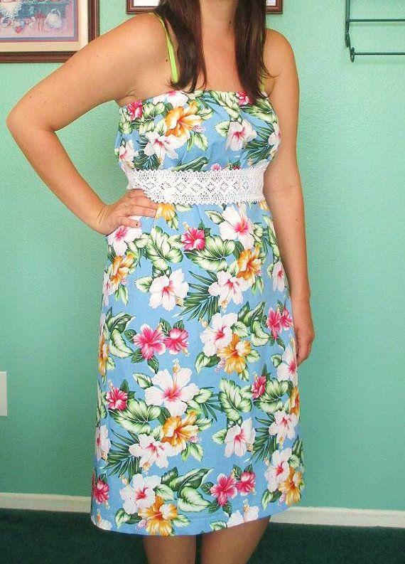 Strapless Hawaiin Dress with Crochet tie belt on Etsy, $25.00