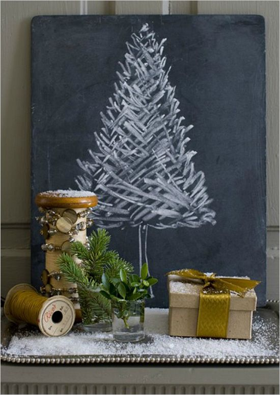 Chalkboard canvas tree? 17 Alternative Christmas Trees. Which one would you choose or will you stick with the traditional? #christmastreeideas www.weddingchicks.com/17-alternative-christmas-trees/