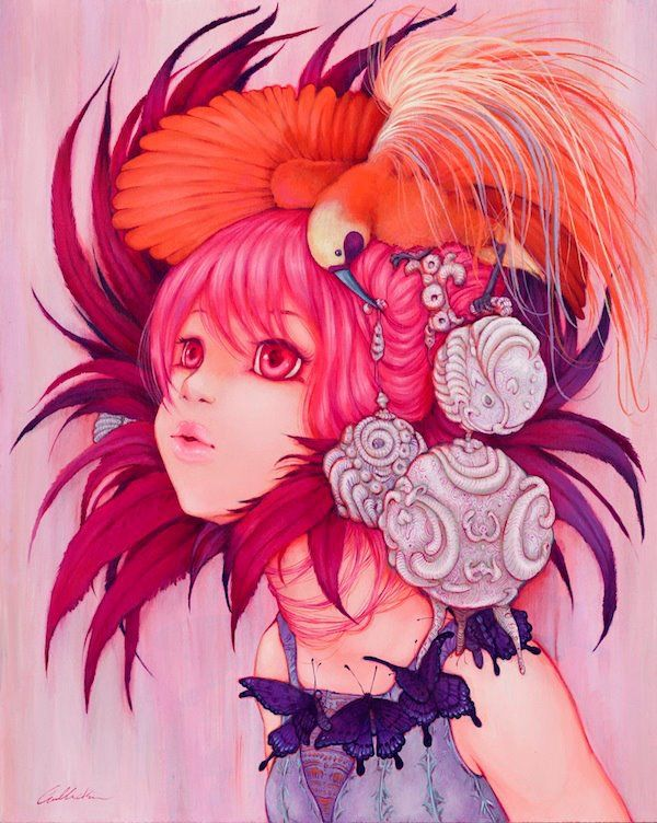 A manga painting of a girl wearing birds and butterflies by Camilla Derrico