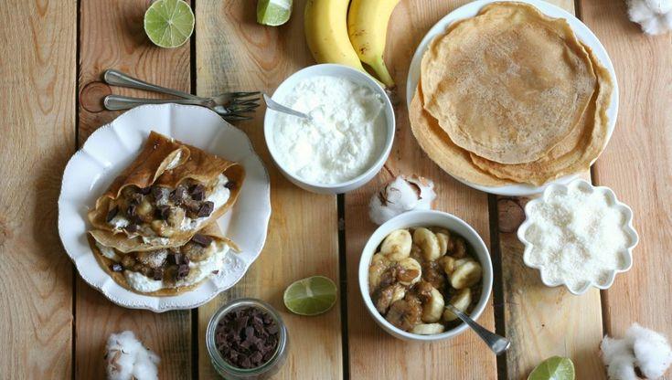 Ricetta Crêpes senza uova con banane caramellate | iFood