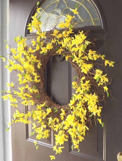 This wreath is made from dollar store floral stems.