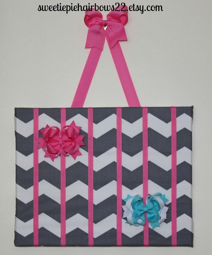 Hair bow Holder Gray Chevron Wall Art Clippie Holder Baby Shower Gift Chevron Pink Hairbow Holder. $18.99, via Etsy.