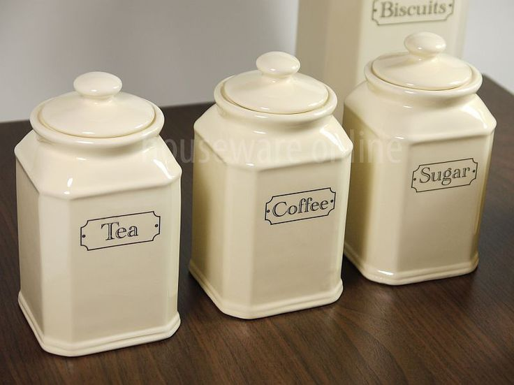 3pc Traditional Cream Ivory Ceramic Tea Coffee Sugar Jar