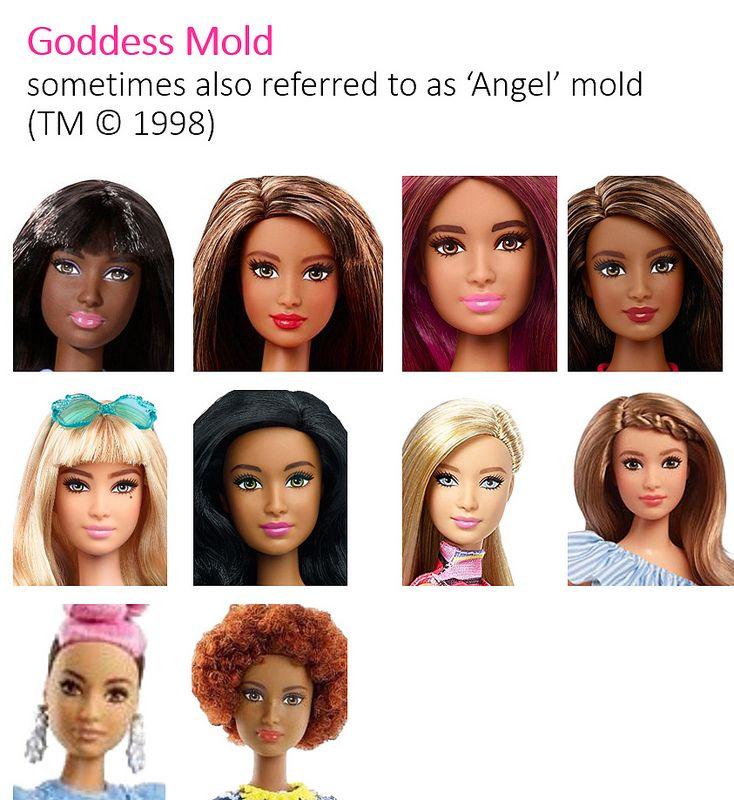Barbie Fashionistas Head Molds Faces 2014 - 2018   Barbie fashionista, Real  barbie, Face mold